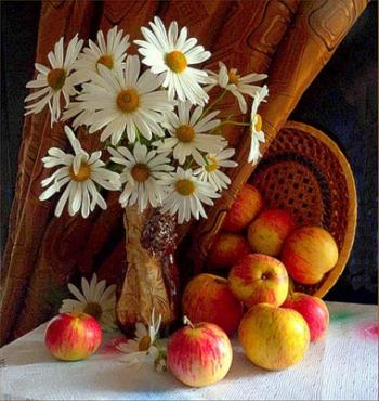 Яблочки и цветы