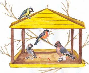 Как Бобик птиц кормил